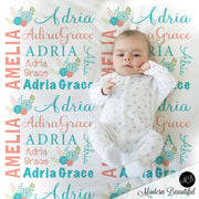 Chic flower baby name blanket in salmon and teal