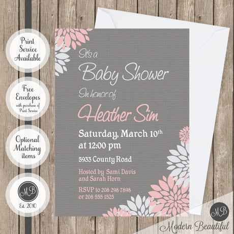 Pink and gray flower baby shower invitation, girl floral baby shower invitation, flower baby shower invitation, girl baby shower invitation