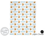 Fox baby boy blanket, blue and white, fox name blanket, custom fox personalized baby gift, swaddle baby blanket, personalized blanket, boy or girl blanket, choose colors