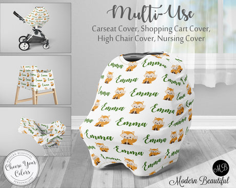 Fox baby boy or girl car seat canopy cover, fox baby gift, green and white, custom infant car seat cover, personalized baby name carseat cover, nursing privacy cover, shopping cart cover, high chair cover (CHOOSE COLORS)