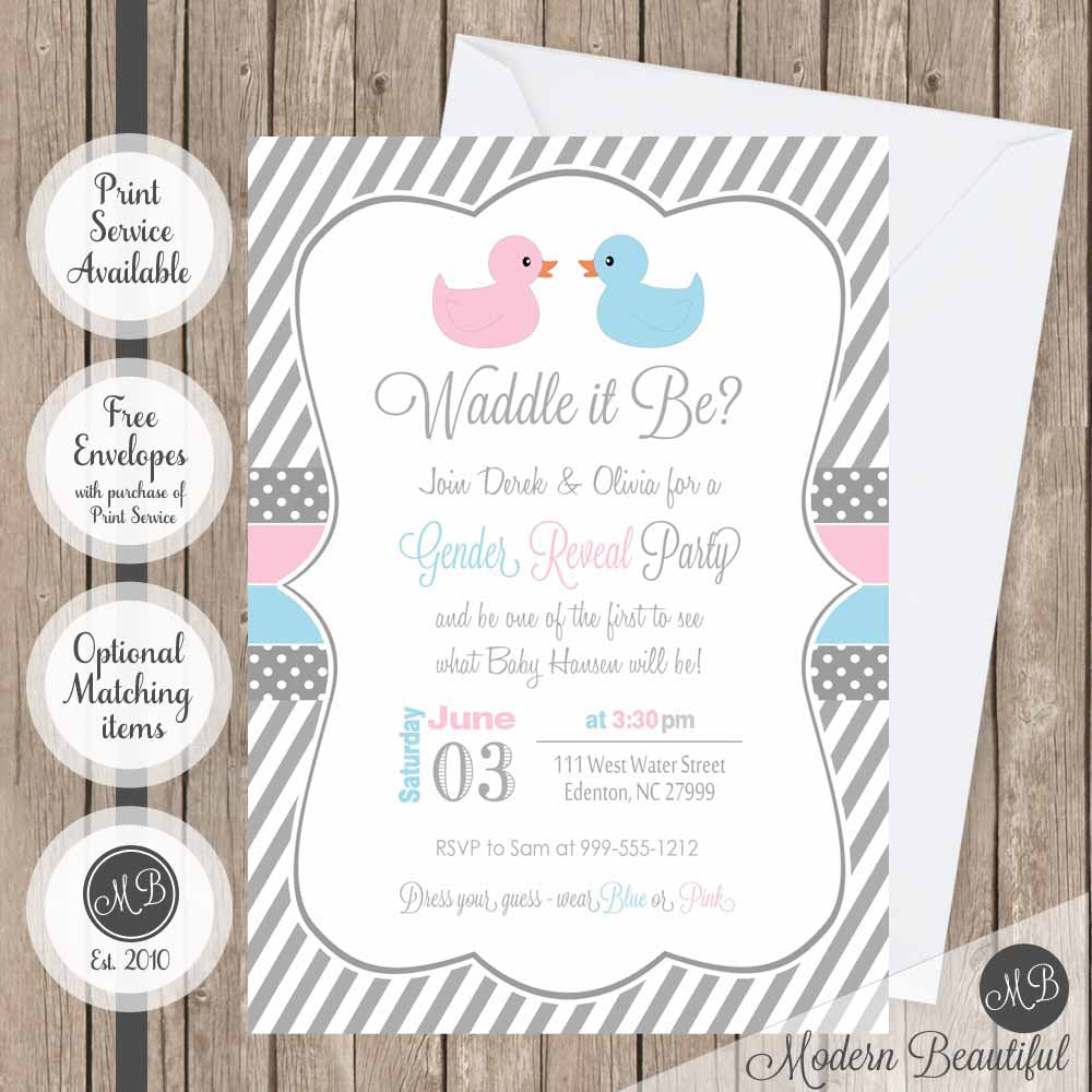 Waddle it be duck gender reveal baby shower invitation, pink and ...