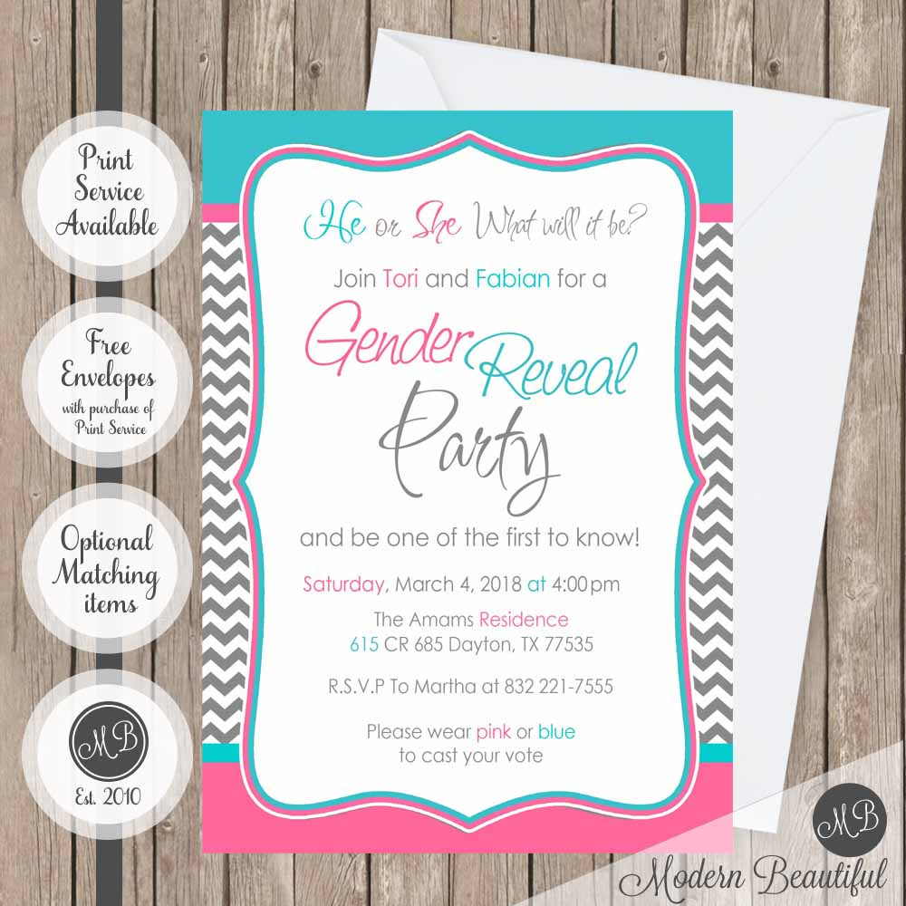 Chevron gender reveal baby shower invitation, pink and blue baby ...