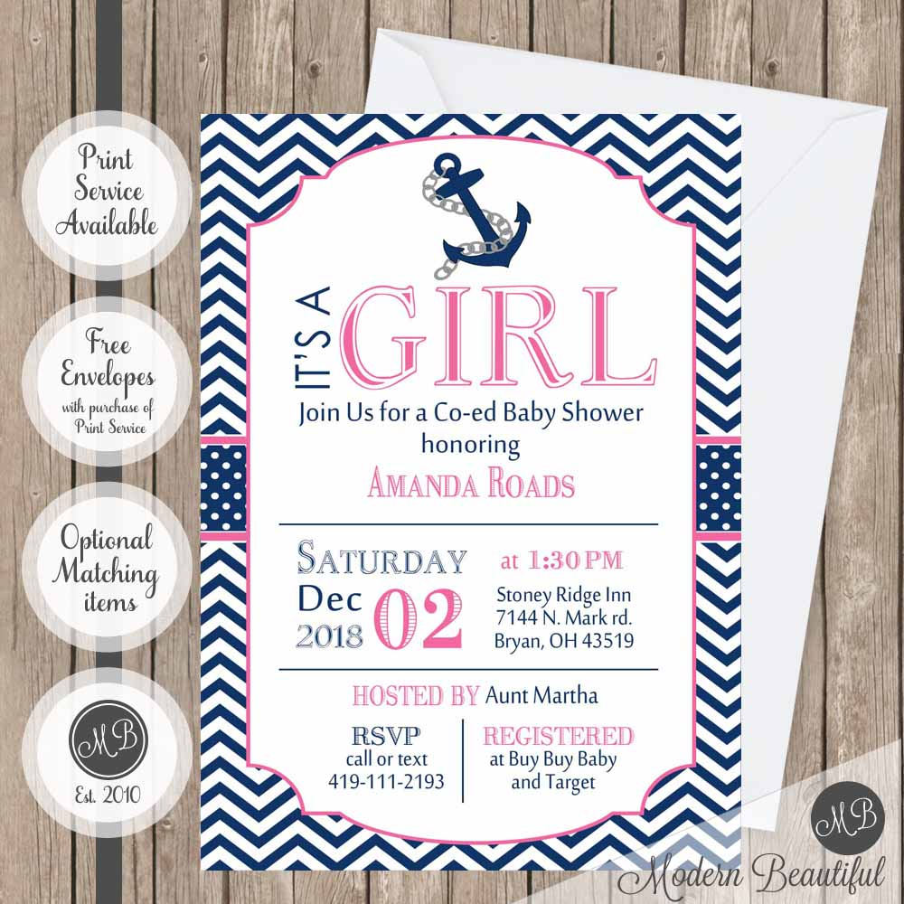 Navy and pink nautical baby shower invitation, girl anchor baby ...