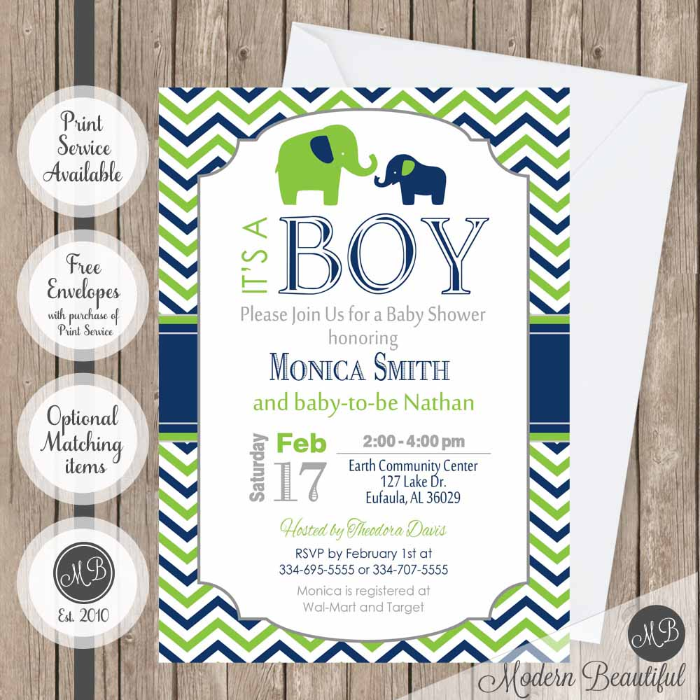 Navy and lime green elephant boy baby shower invitation