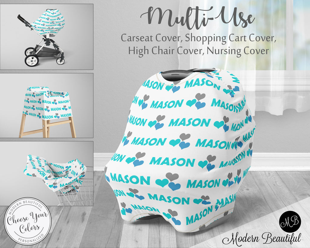 Hearts baby boy or girl car seat canopy cover, heart baby gift, aqua and white, custom infant car seat cover, personalized baby name carseat cover, nursing privacy cover, shopping cart cover, high chair cover (CHOOSE COLORS)