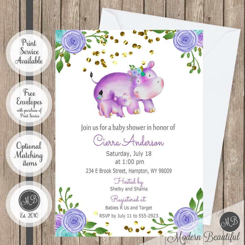 Purple blue and gray flower hippo baby shower invitation, hippo ...