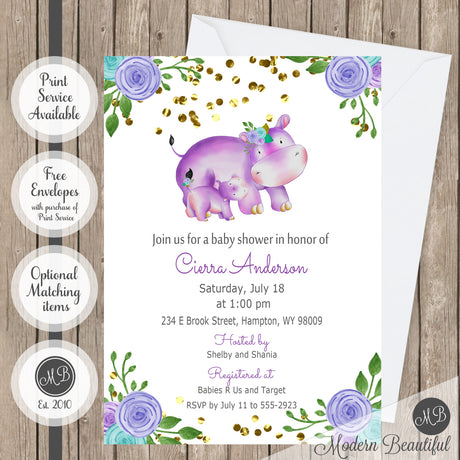 Purple blue and gray flower hippo baby shower invitation, hippo floral baby shower invitation, flower baby shower invitation, girl baby shower invitation