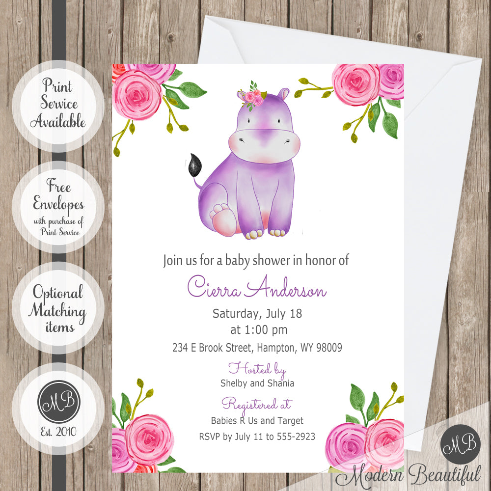 Pink purple and gray flower hippo baby shower invitation, hippo floral baby shower invitation, flower baby shower invitation, girl baby shower invitation