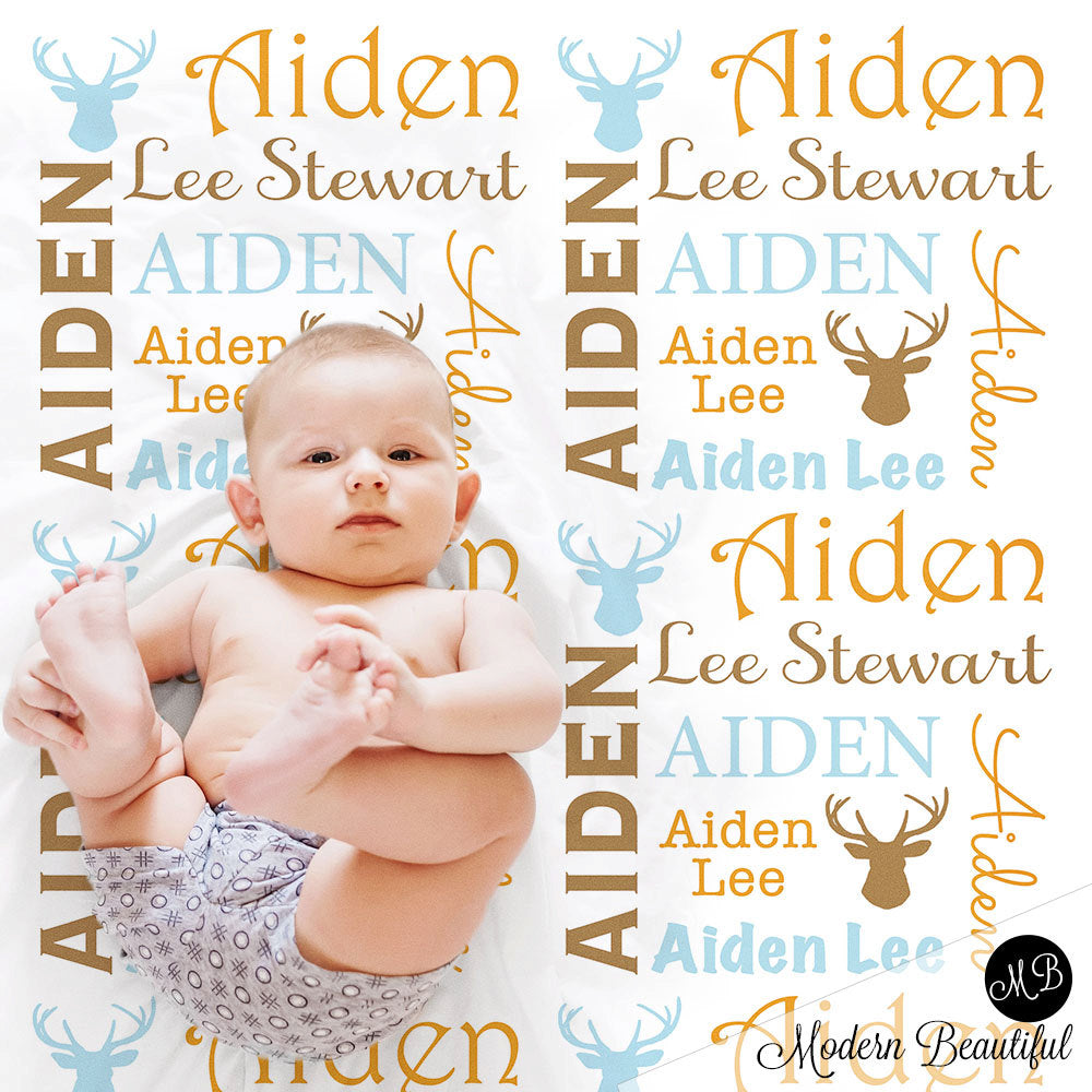 Deer Antler Personalized Baby Blanket Receiving Blanket Swaddle