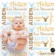 Deer antler personalized baby blanket, receiving blanket, swaddle blanket, baby shower gift, boy gift, (CHOOSE COLORS)