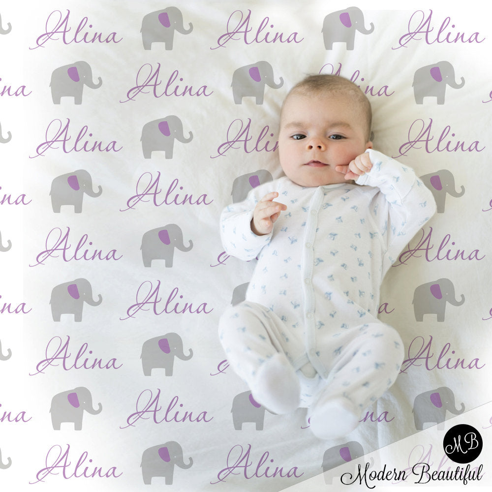 purple and gray elephant baby blanket