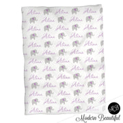 Baby girl elephant baby blanket, purple and gray elephant blanket, elephant personalized baby gift, cursive script font, personalized blanket, choose colors