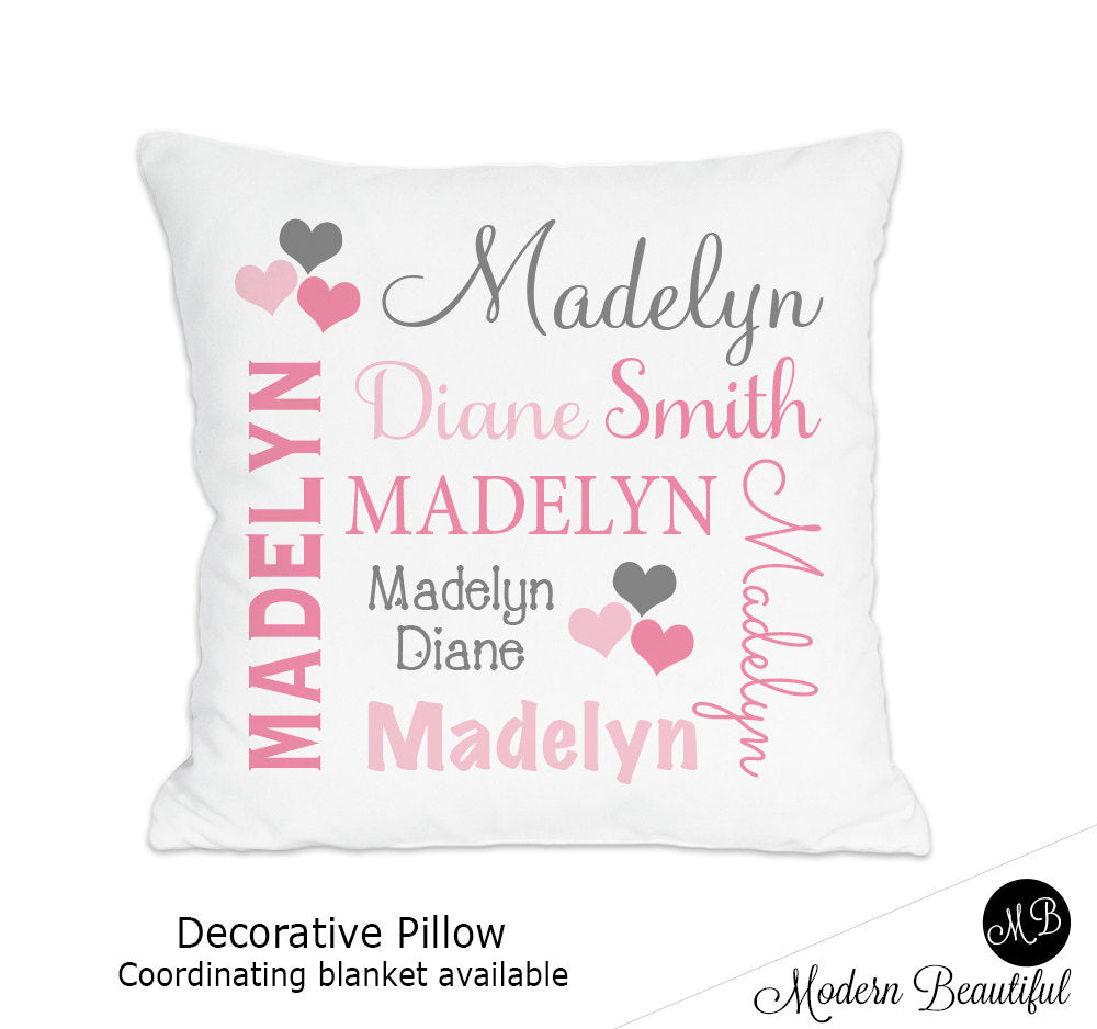 Hearts theme throw pillow cover in pink and gray, personalized baby pillow, pink and gray heart decor, baby name pillow (Choose Colors)