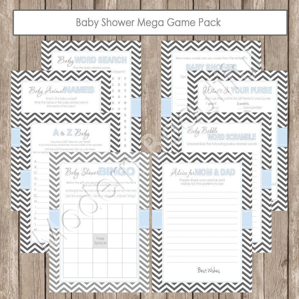 Baby Shower Game Pack Shower Games Pack In Chevron Baby Blue