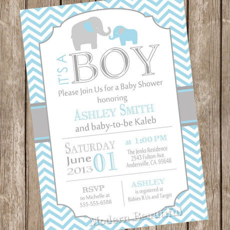 Blue and Grey Elephant Baby Shower Invitation (Choose Digital or Printed)