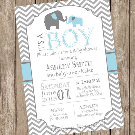 Blue and Gray Baby Shower Invitation Elephant, Grey and Blue Chevron, boy baby shower invitation, printable invitation bge1