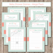 Baby Shower Game Pack - Shower Games with Chevron baby shower games, mint, coral, printable, digital file INSTANT DOWNLOAD