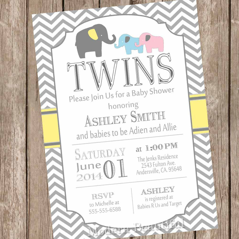 Elephant Twins Baby Shower Invitation, twin girl, twin boy, boy and ...