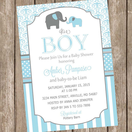 Blue and Gray Baby Shower Invitation, elephant baby shower invitation, boy baby shower invitation, blue and gray damask invitation,