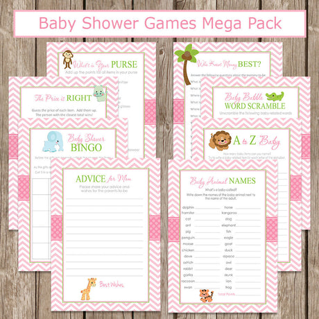 Safari Baby Shower Game Pack in Pink with Safari Animals, Pink Baby Shower Activity Set, Bingo, Baby Animal Names and more INSTANT