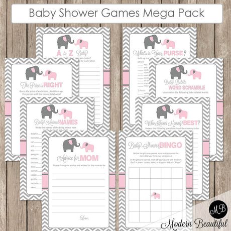 Elephant Baby Shower Game Pack in Pink and Gray, Baby Shower Activity Set, Bingo, Baby Animal Names, Price is Right pe1  INSTANT