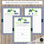 Sea turtle Baby Shower Game Pack - Lime and Navy, Baby Shower Activity Set, Shower Games Bingo, Price is Right and more INSTANT st1