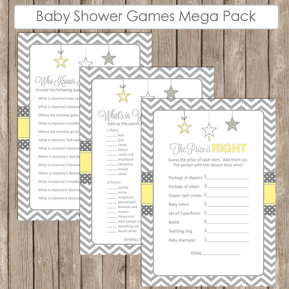 Baby Shower Game Pack Yellow And Gray Twinkle Little Star Baby
