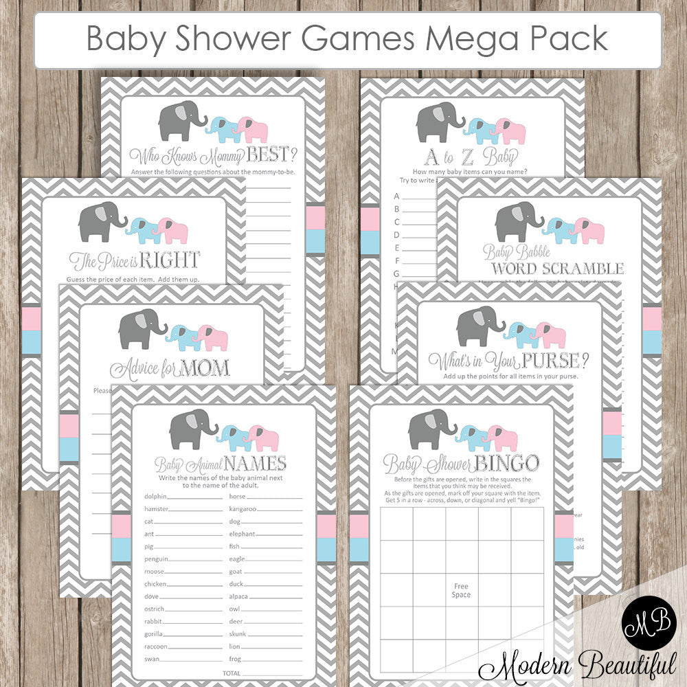 Elephant Baby Shower Game Pack Twins, Blue and Pink Elephant Baby Shower Activity Set, Bingo, Baby Animal Names, Price is Right INSTANT etpb