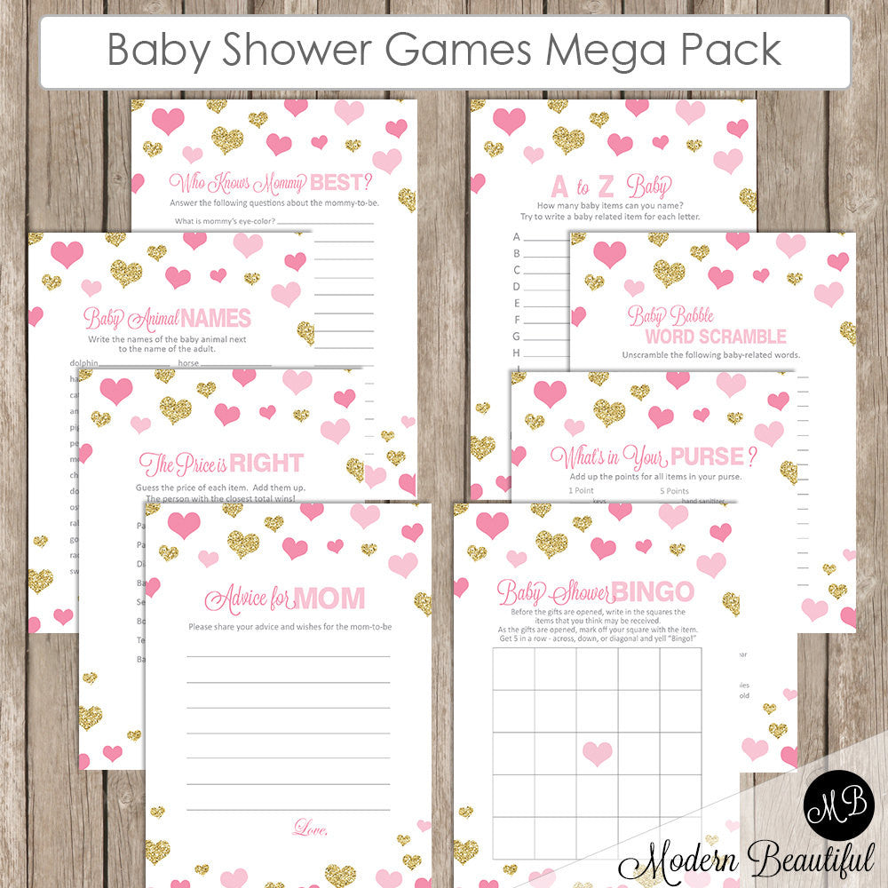 Baby Shower Game Pack - Pink and Gold Glitter, Baby Shower Activity ...
