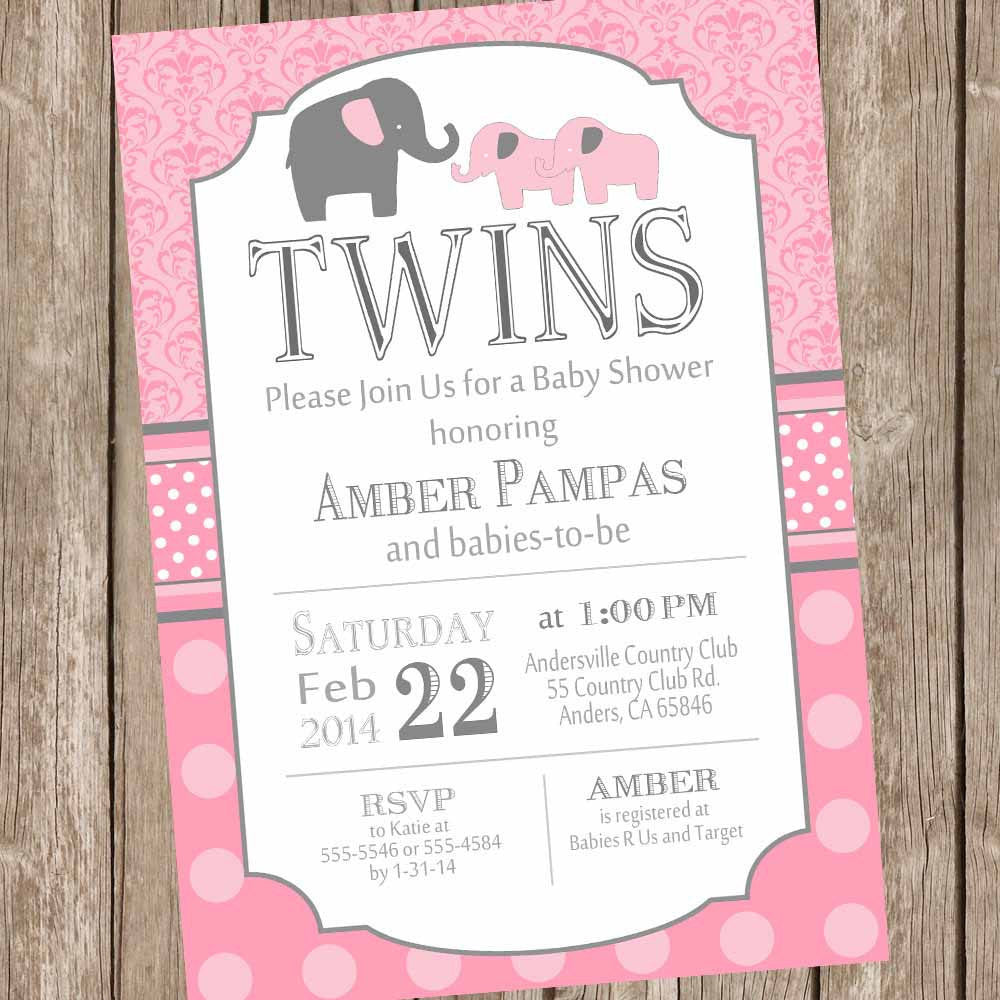 Elephant Twin Girl Baby Shower Invitation, twin girl, girl twins ...
