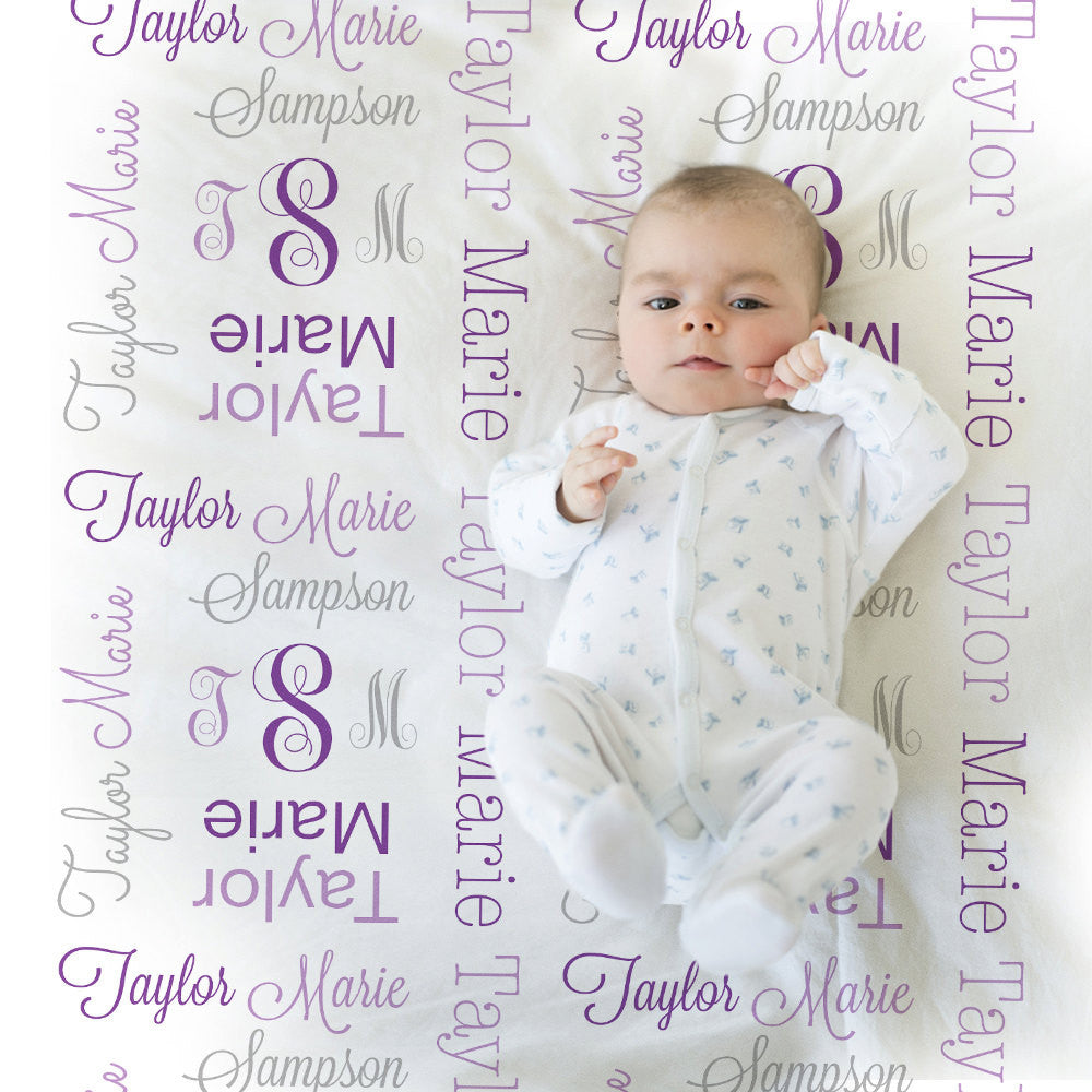 Monogrammed Receiving Blanket Purple and gray personalized swaddle blanket, girl monogram blanket , baby shower gift, baby blanket 1007
