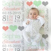 Mint and coral baby stats blanket, personalized blanket, stats blanket, girl baby blanket, baby shower gift, receiving, hearts,  1006