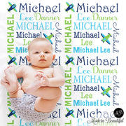 Airplane personalized baby blanket, receiving blanket, swaddle blanket, baby shower gift, boy gift, lime and navy baby blanket 1003