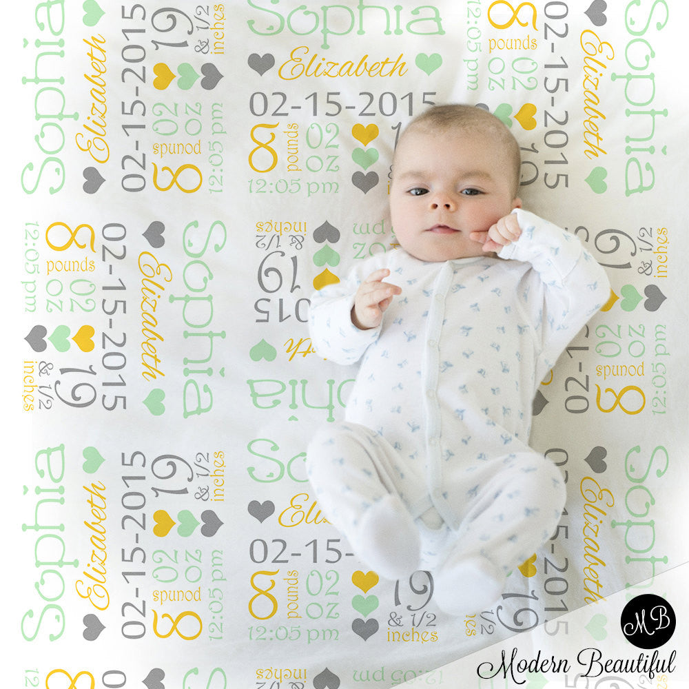 Baby Stats Blanket Yellow and mint , personalized blanket, stats blanket, girl baby blanket, baby shower gift, receiving, hearts,  1008