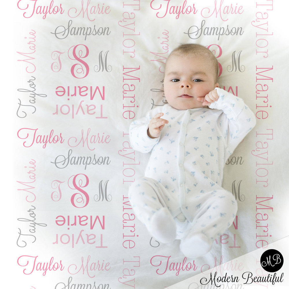 Baby girl monogram blanket, receiving swaddling blanket, girl monogram blanket , girl name blanket, pink and gray baby blanket 1007