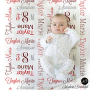 Monogram Baby Blanket in Red and Gray personalized swaddling blanket, receiving blanket, baby shower gift, gift, baby photo prop 1007