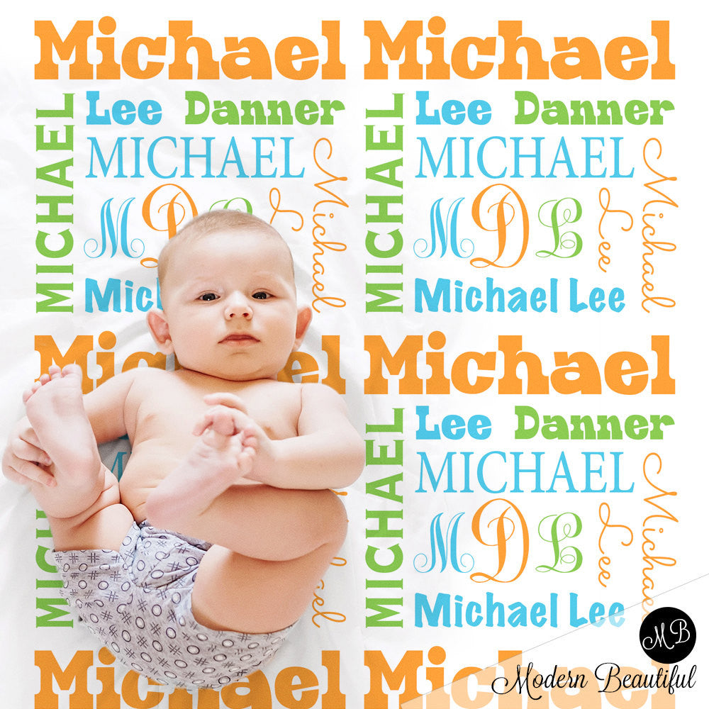 Baby boy personalized monogram blanket, receiving blanket, swaddle blanket , baby shower gift, boy gift, green, orange, baby blanket 1001