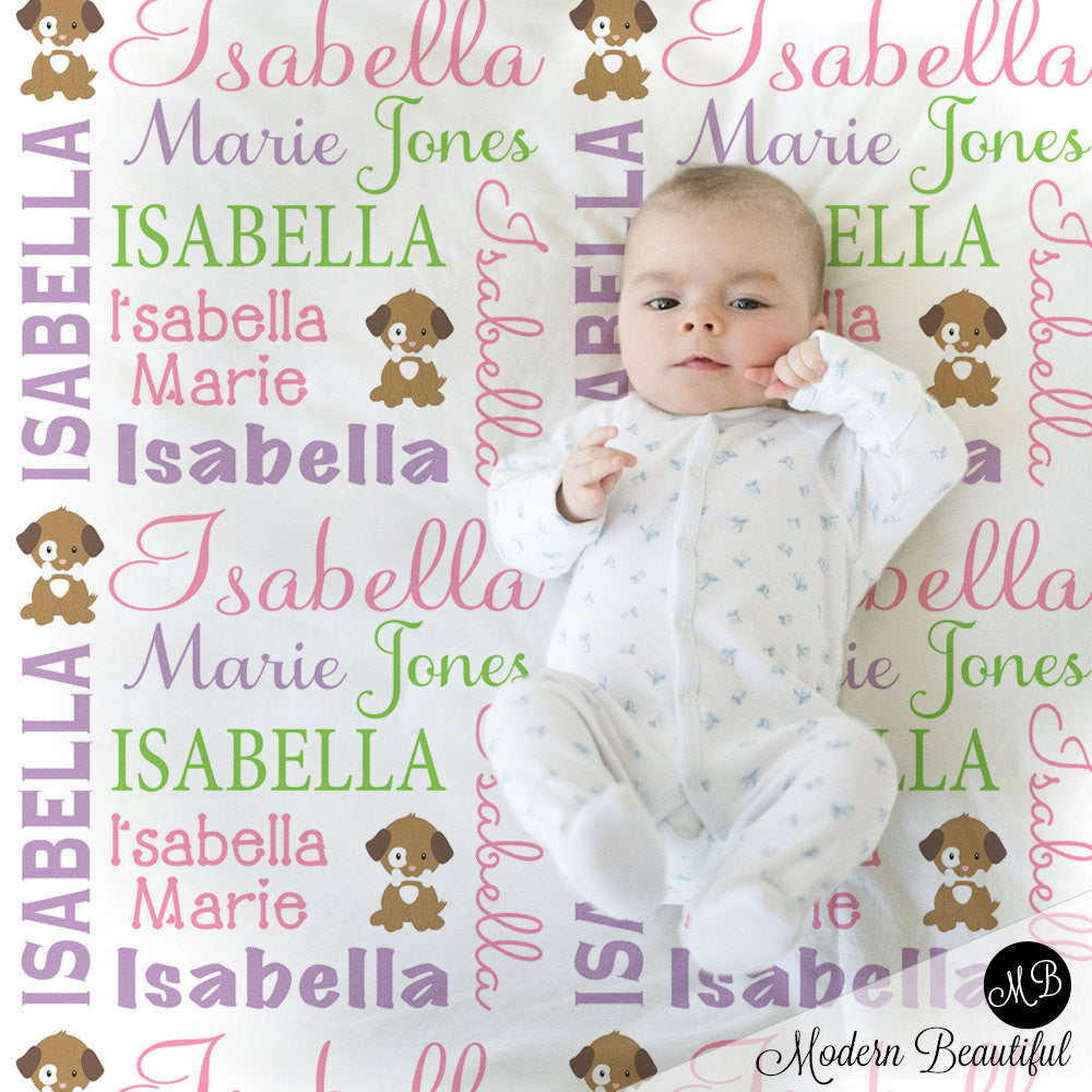 Girl Baby Blanket with Puppy, baby name blanket, puppy personalized blanket, girl baby blanket, baby shower gift, receiving blanket  PuppyG2