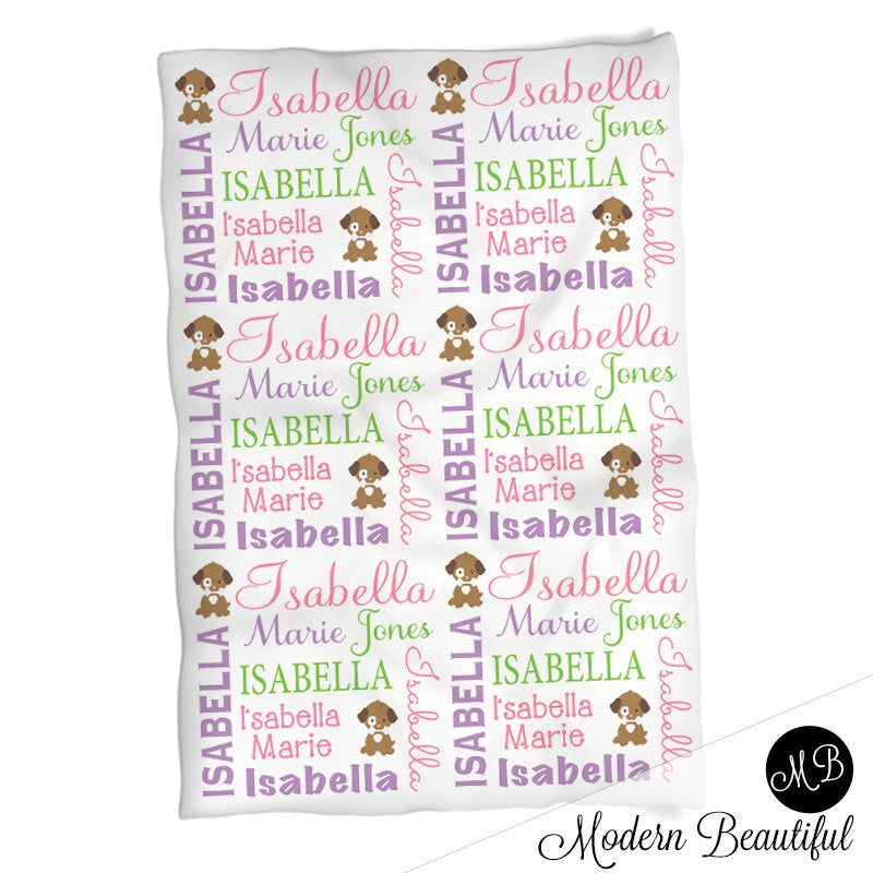 Girl Baby Blanket with Puppy, baby name blanket, puppy personalized ...