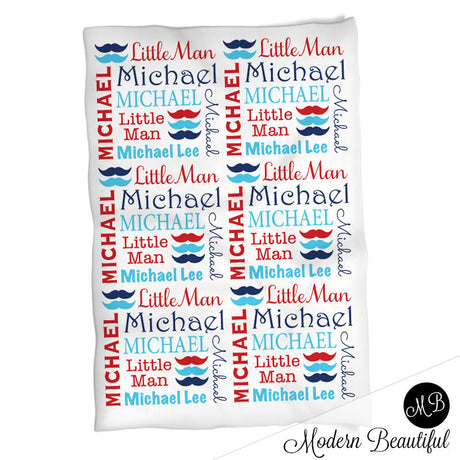 Little Man Moustache Name blanket, personalized baby gift, swaddling blanket, photo prop blanket, baby boy name blanket choose colors