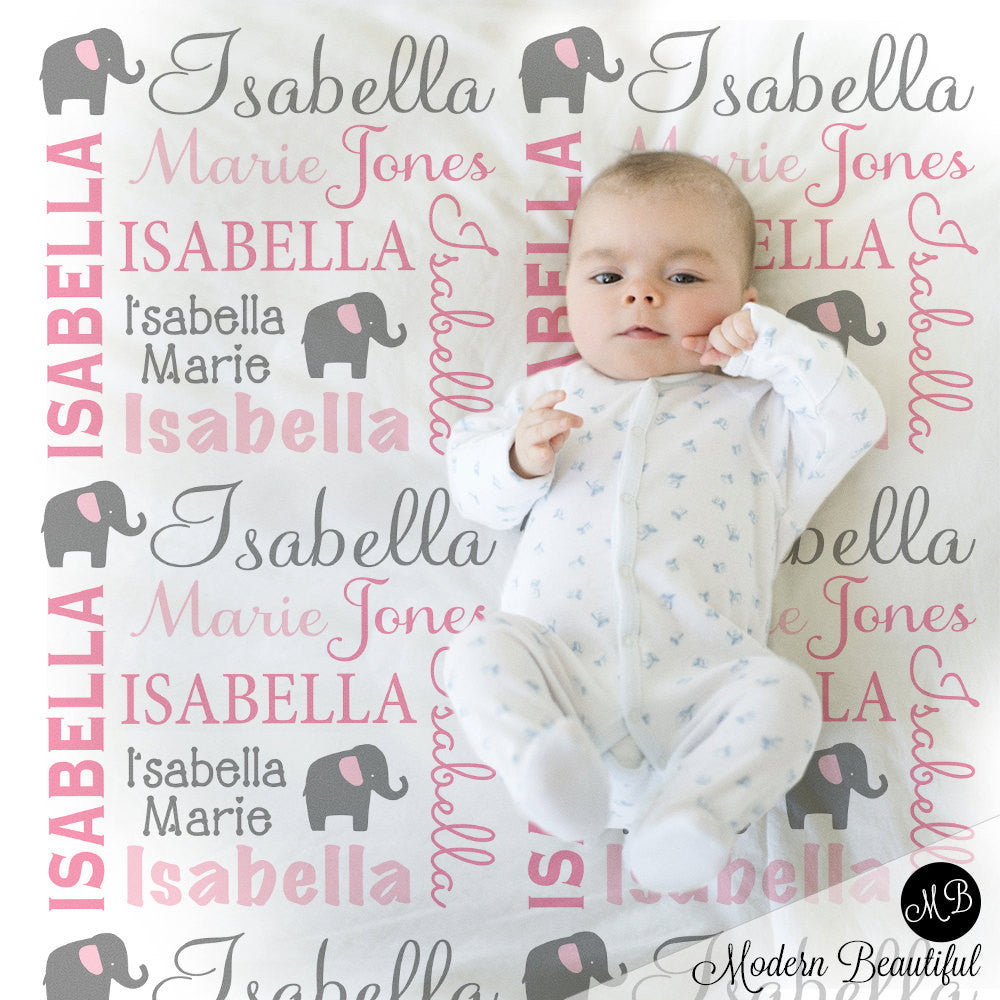 Elephant name blanket in pink and gray for baby girl personalized elephant name blanket in pink and gray for baby girl personalized baby gift blanket negle Gallery