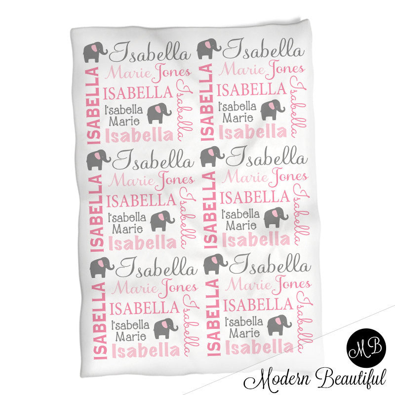 Elephant name blanket in pink and gray for baby girl personalized elephant name blanket in pink and gray for baby girl personalized baby gift blanket negle Image collections