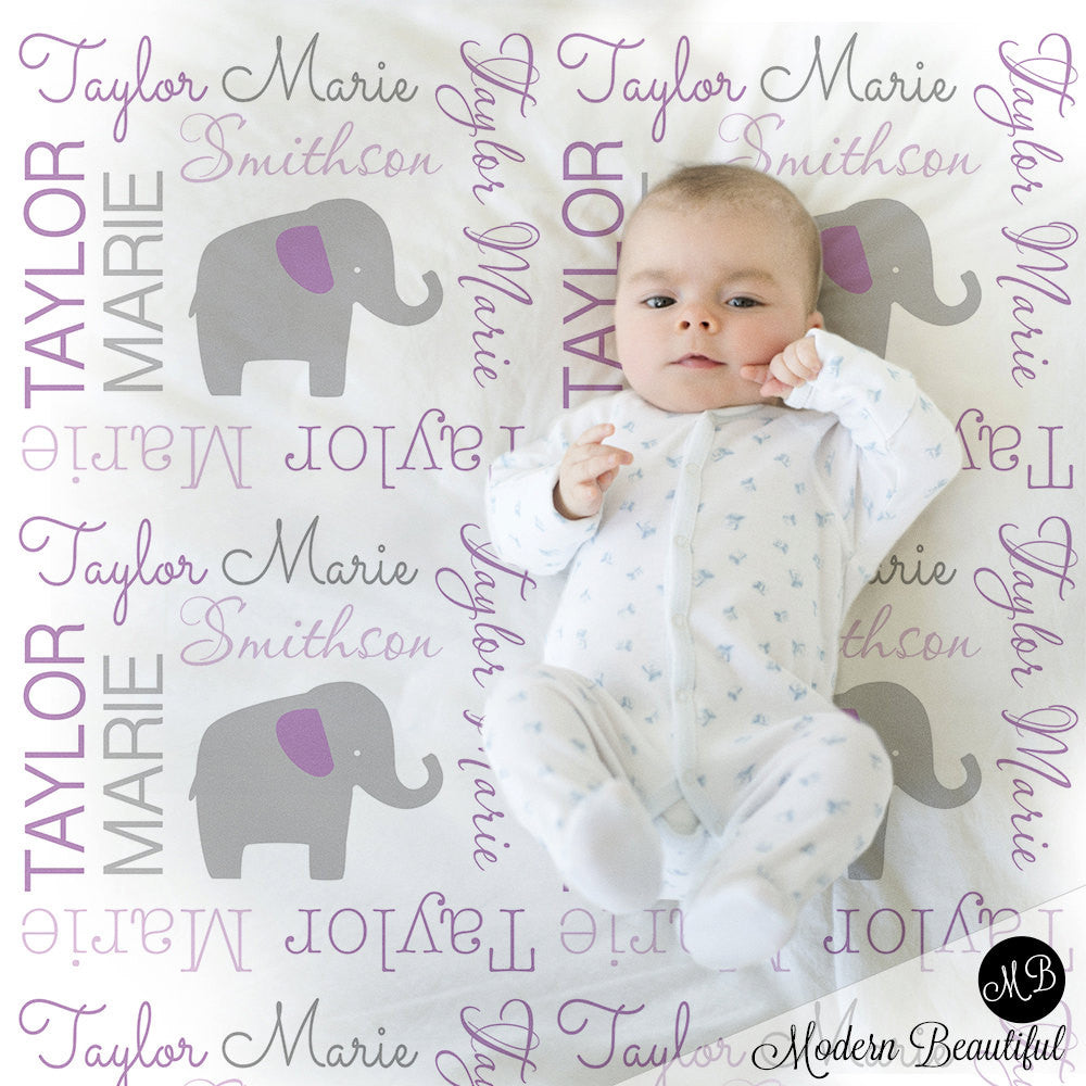 Elephant Name Blanket in purple and gray, Girl, personalized blanket, custom blanket, baby blanket, personalized blanket, choose colors