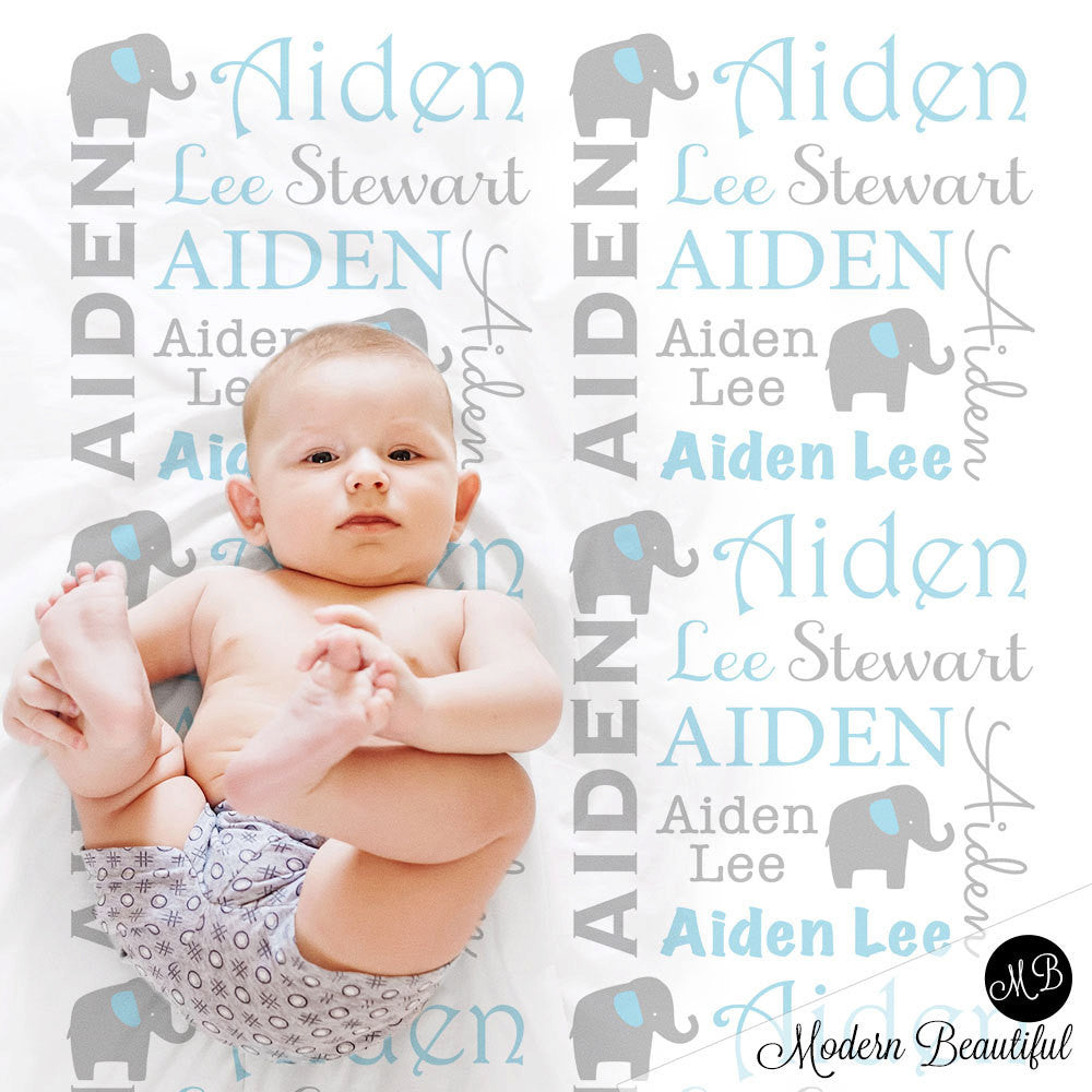 fbddf7e20 Elephant Name Blanket in blue and gray for boy, personalized baby gift,  blanket,