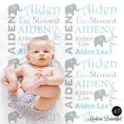 Elephant Name Blanket in blue and gray for boy, personalized baby gift, blanket, blanket, personalized blanket, photo prop, choose colors