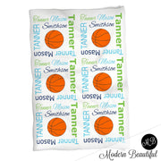 Boy Basketball blanket, personalized gift, basketball blanket, lime green and navy blue blanket, personalized sports name blanket, blanket