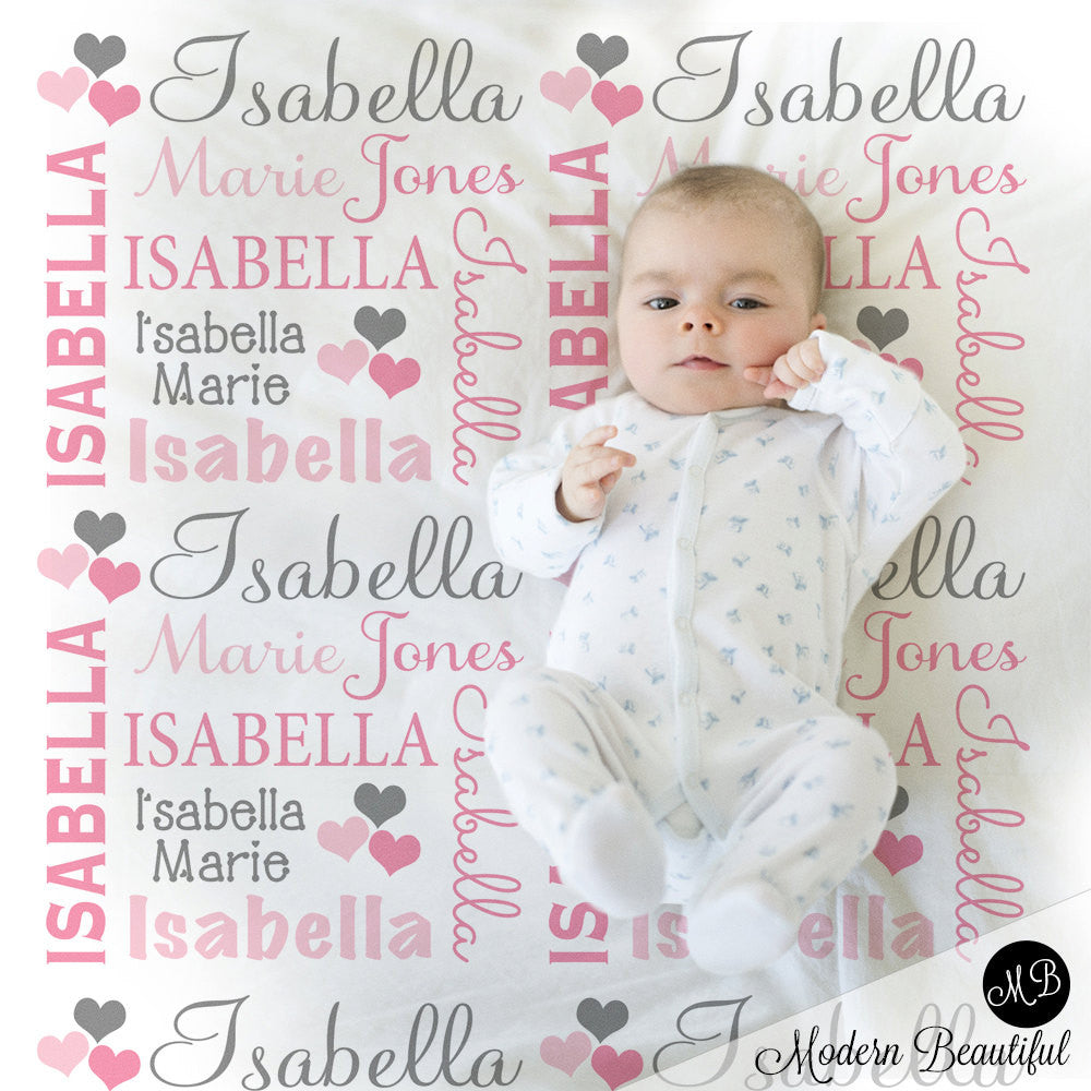 Hearts Name Blanket In Pink And Gray For Baby Girl Personalized