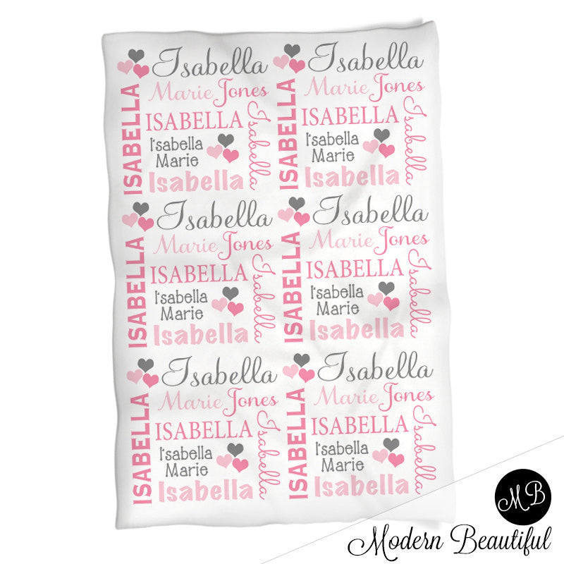 Hearts name blanket in pink and gray for baby girl personalized hearts name blanket in pink and gray for baby girl personalized baby gift blanket negle Images
