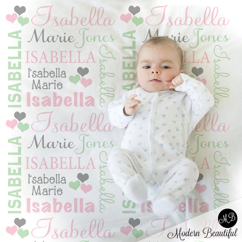 Hearts name blanket in pink mint and gray for baby girl hearts name blanket in pink mint and gray for baby girl personalized baby gift negle Images