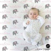 Pink and Gray Elephant Name Blanket for Baby Girl, personalized baby gift, cursive script font, personalized blanket, choose colors